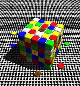 кубчетата А, В и С са с еднакви цветове